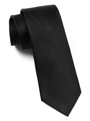SOLID BLACK SILKY TIE FINISH