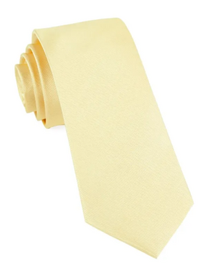SOLID SOFT YELLOW SILKY TIE FINISH