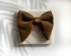 VELVET LIGHT BROWN BOW TIES