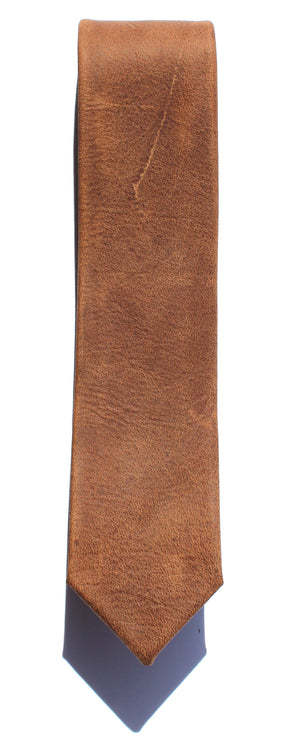 WHISKEY BROWN LEATHER SKINNY TIE