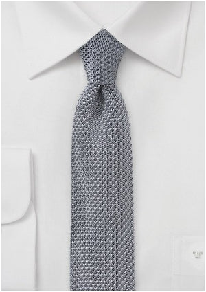 LIGHT GREY KNITTED SKINNY TIE