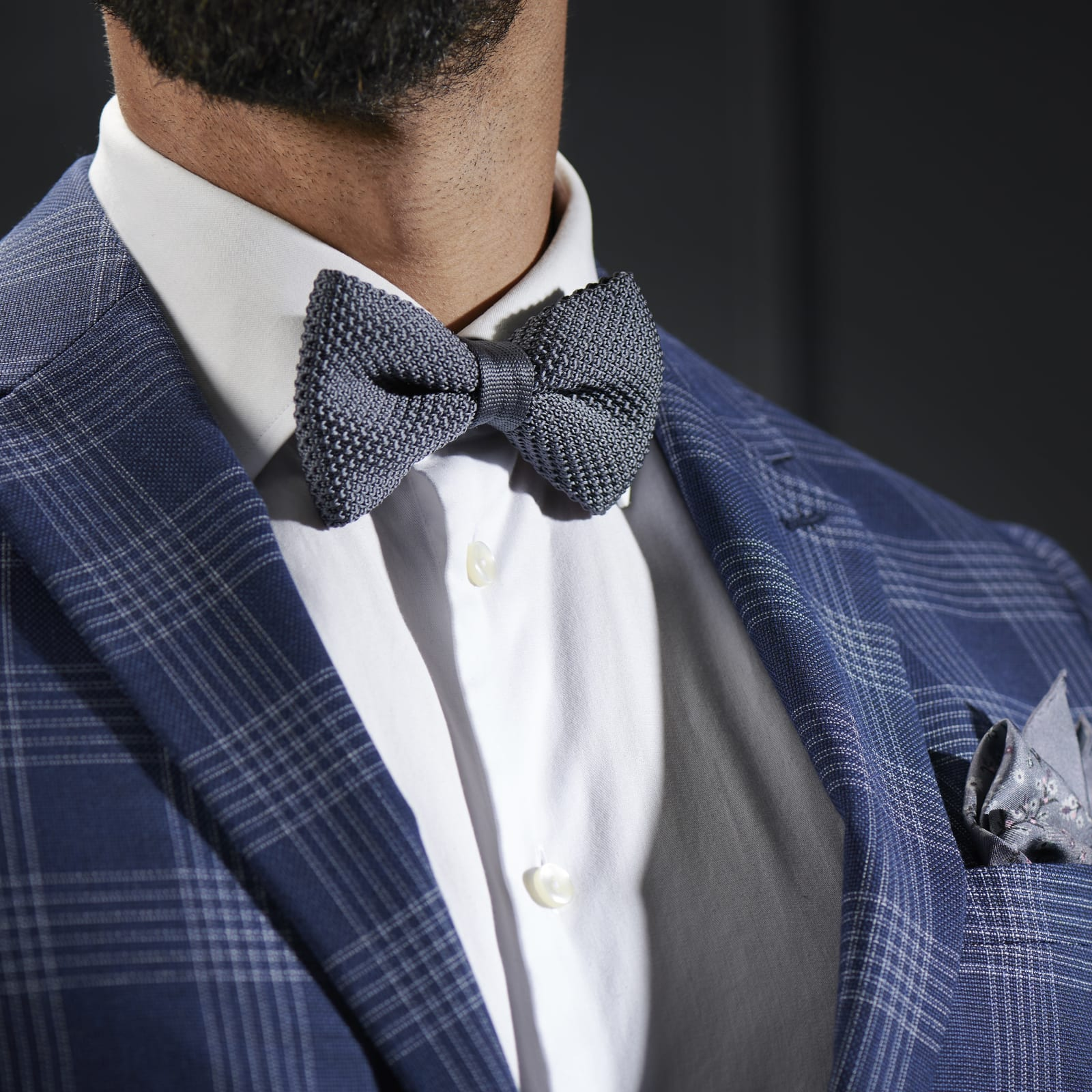 DARK GREY KNITTED BOW TIES