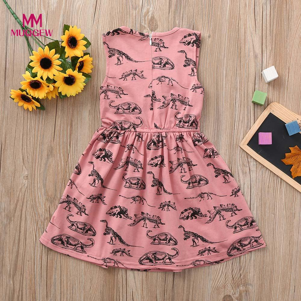 Toddler Infant Baby Girls Dress Cartoon Dinosaur Print Sleeveless lovely Cute Dresses Pink Clothing Outfits vestido para menina
