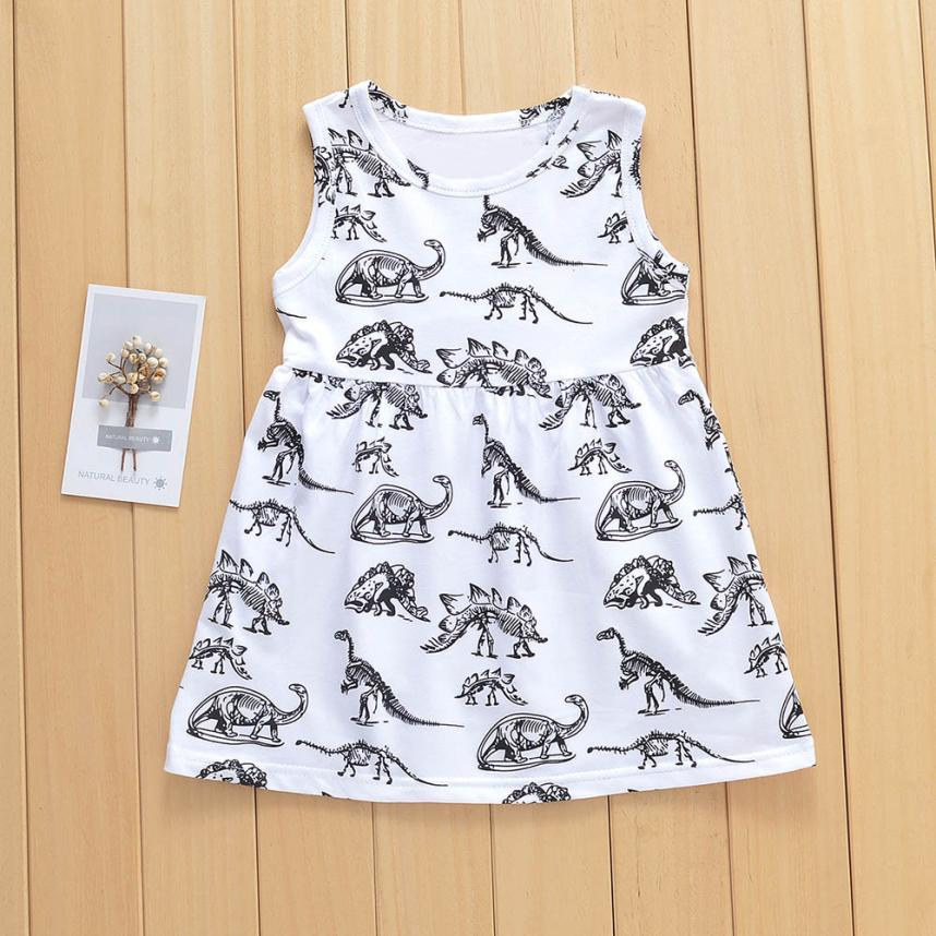 MUQGEW summer dress Toddler Infant Baby Girls Cartoon Dinosaur Print Sun Dresses Clothes O-Neck hot sale newest White Outfits
