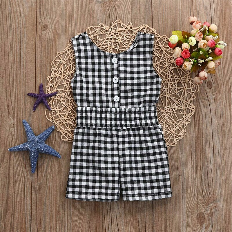 Toddler jumpsuits Infant Baby Girl Plaid Romper Jumpsuit Clothes Outfits Summer Baby Clothing Overalls for Childhood