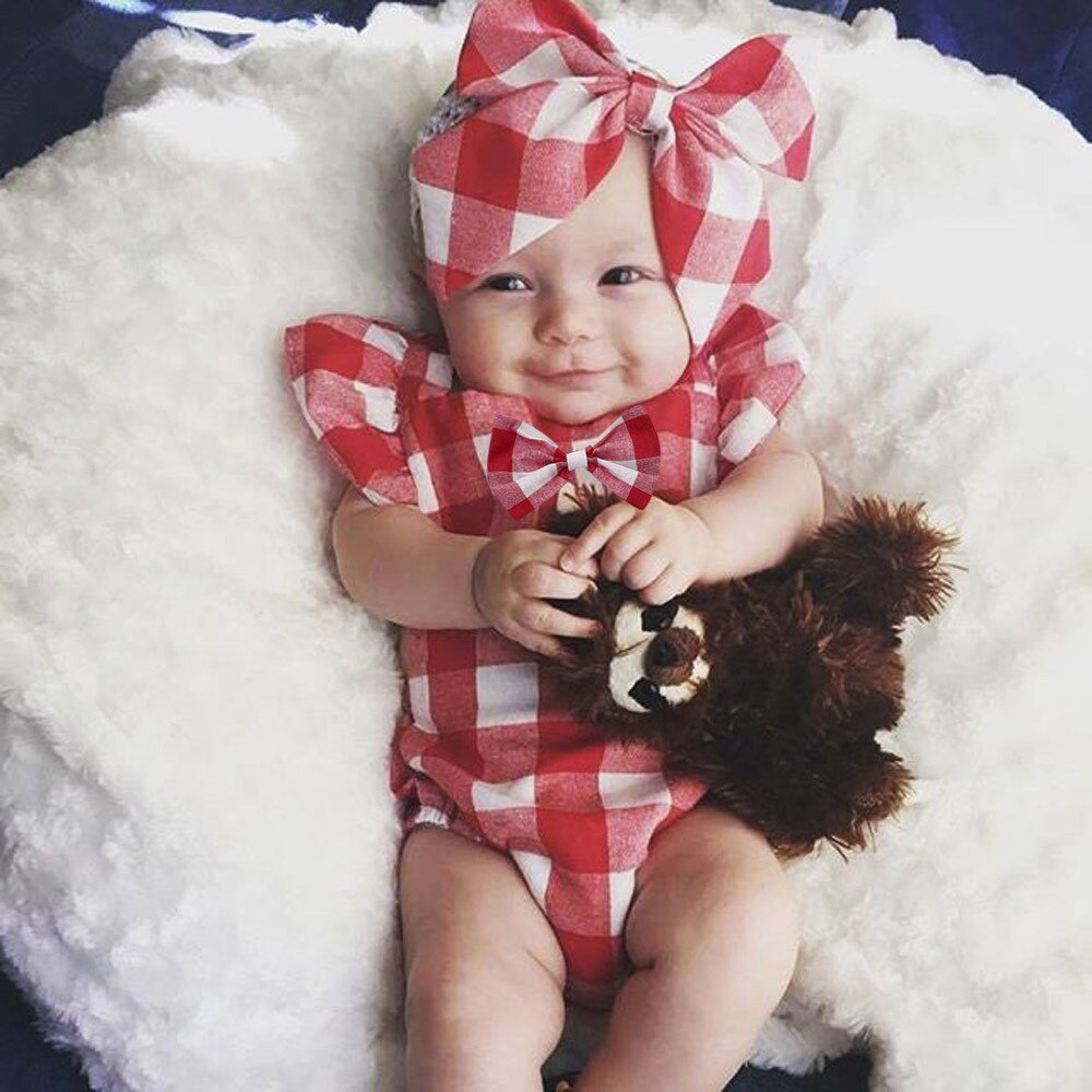 Lovely Cute Baby Girls Infant Plaid Jumpsuit Sleeveless Rompers Bowknot Kids Children Soft Cotton Jumpsuits Clothes