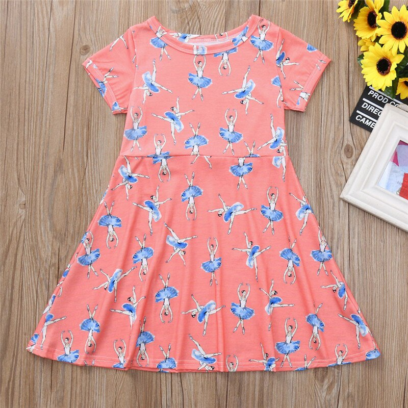 girls dresses for party and wedding Cartoon Short Sleeve Ballet Girls Print Dress Outfit Clothes robe pour fille garniture