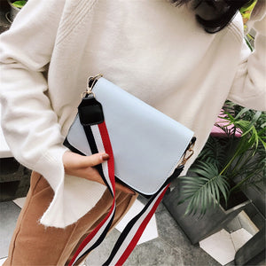 HELLOVE Women Fashion Shoulder Stylish Crossbody Bag Messager Handbag Contrast Wide Shoulder Strap PU Leather Wild Trend Female