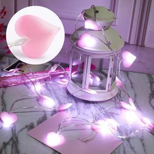 Pink love heart LED string for home decoration