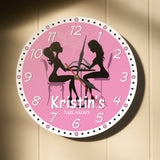 Pink clock for wall mounting