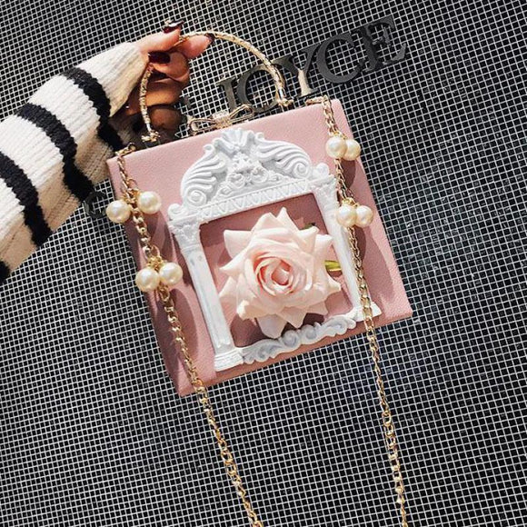 Pink Embossed Flower Women Shoulder Bag Fashion Pearl Chain Lady Messenger Bag