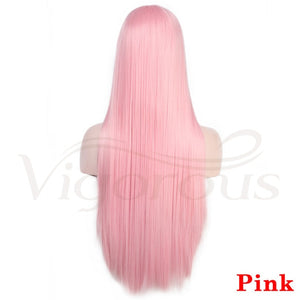 Pink long straight hair
