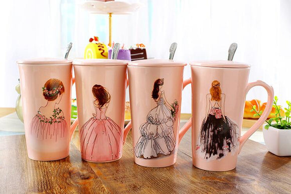 Pink Coffee Mug With Painted Beauty Wedding Dress