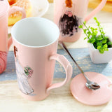 Pink Coffee Mug With Stainless Spoon