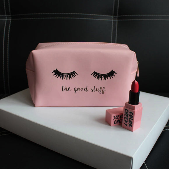Pink PU make up bag for ladies
