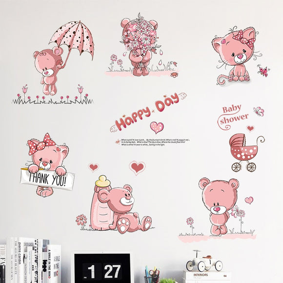 Pink Bear Cartoon Wall Decor