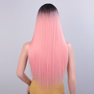 Long Straight Synthetic Pink Wig