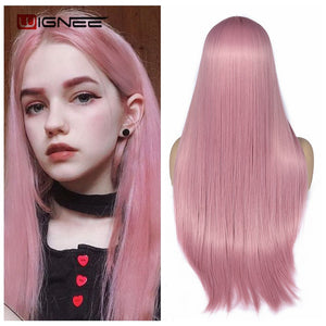 Girl wearing stright pink wigs