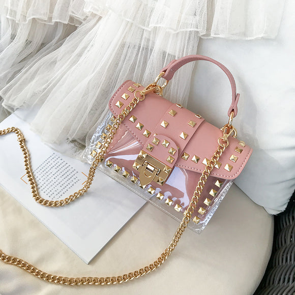 Pink Chain Leather Bag