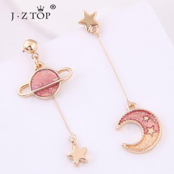 Pink moon and star earrings