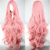Pink Synthetic Wigs for Women Heat Resistant High Temperature Fiber Cosplay Long Wavy 100 cm Wig