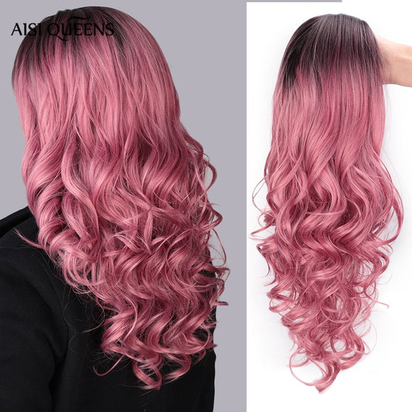 Long pink wigs