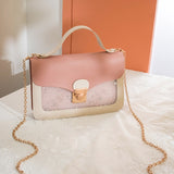 Pink square handbag for women