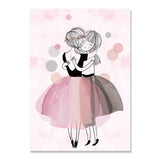 Pink watercolor ballet girl hug