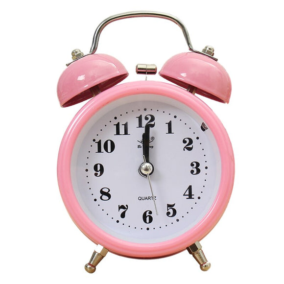 Portable Classic Silent Double Bell Alarm Clock Quartz Movement Bedside Night Light Pink