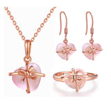 Rose Gold Color Heart Crystal Jewelry