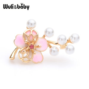 Small Pink Flower Brooches Women Simulated Pearl Flower Weddings Brooch Collar Pins Gifts