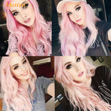 Girls wear pink long wigs