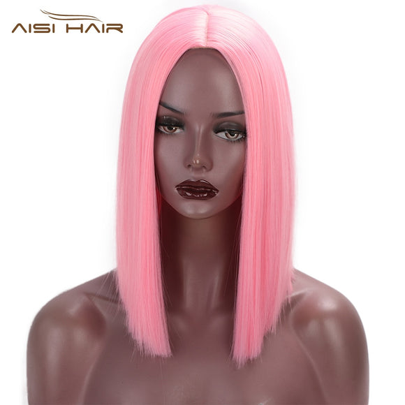 Pink Wig Synthetic Short Straight Hair Shoulder Length