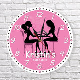 Wall clock pink girl nail art