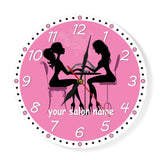 Pink clock for nail salon