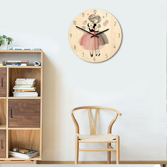 Pink Cartoon princess creative wall clock modern minimalist living room art clock
