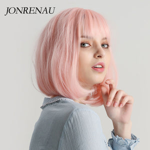 Pink Short Straight Synthetic Wigs with Bangs 12 inches