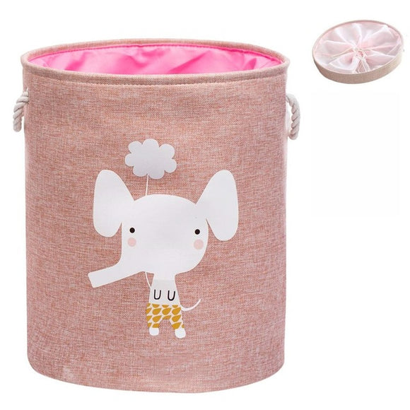 Pink Foldable Laundry Basket With Lid for Clothes Organization, Kids Toy Storage, Dog Toys bucket