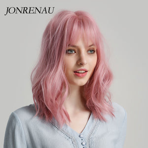 Pink Short Natural Wave Hair Synthetic Wigs with Neat Bangs