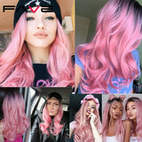 Pink Synthetic Long Wavy Cosplay Wigs