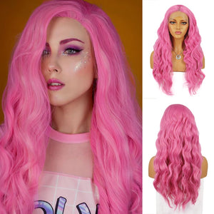 Pink Long Wave Synthetic Lace Front Wigs