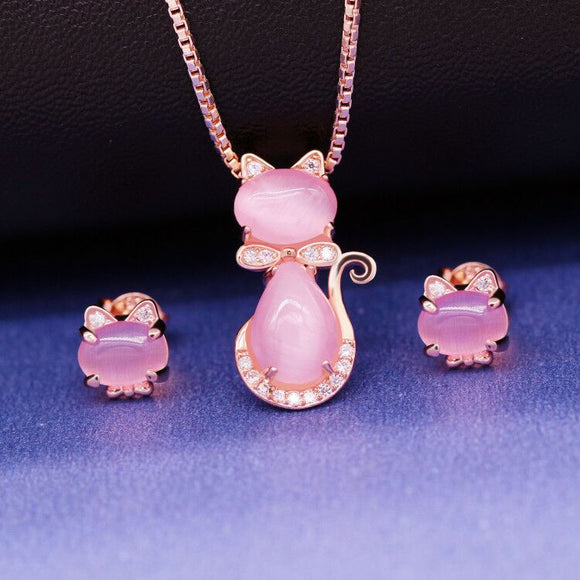 Pink Crystal Cat Jewelry Set