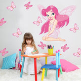 Little Girl Drawing Under the Butterfly Wall Sticker
