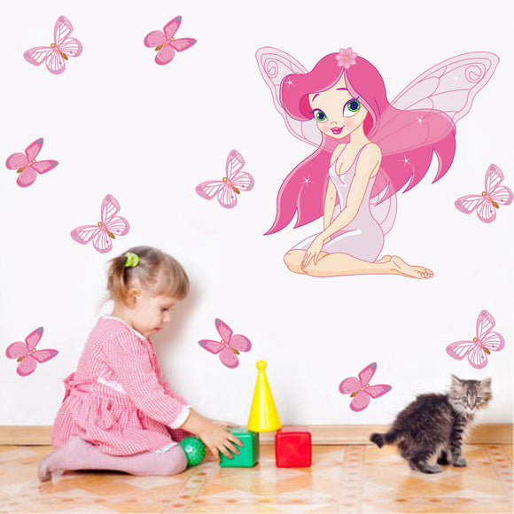 Little Girl Playing With Building Blocks Under The Fairy Girl Butterfly Mutal