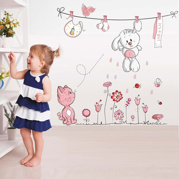 Pink Cartoon Cat Rabbit Bear Flower Wall Sticker For Baby and Kids Room Decoration