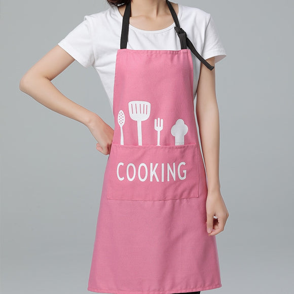 Pink apron for cooking