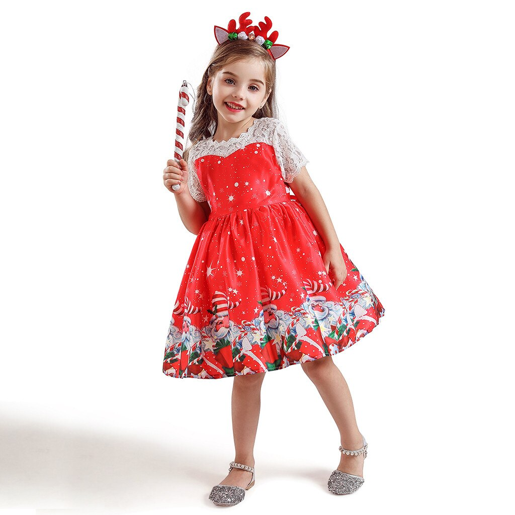Toddler Kids Baby Girls Santa Print Princess Dress Christmas Hairband Outfits Princess Dresses for Girls Children Party Clothes