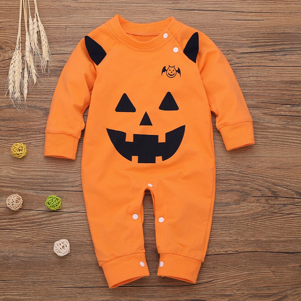 Newborn Baby Boy Girl Halloween Pumpkin Cosplay Costume Romper Jumpsuit Outfits organic cotton baby clothes baby costume