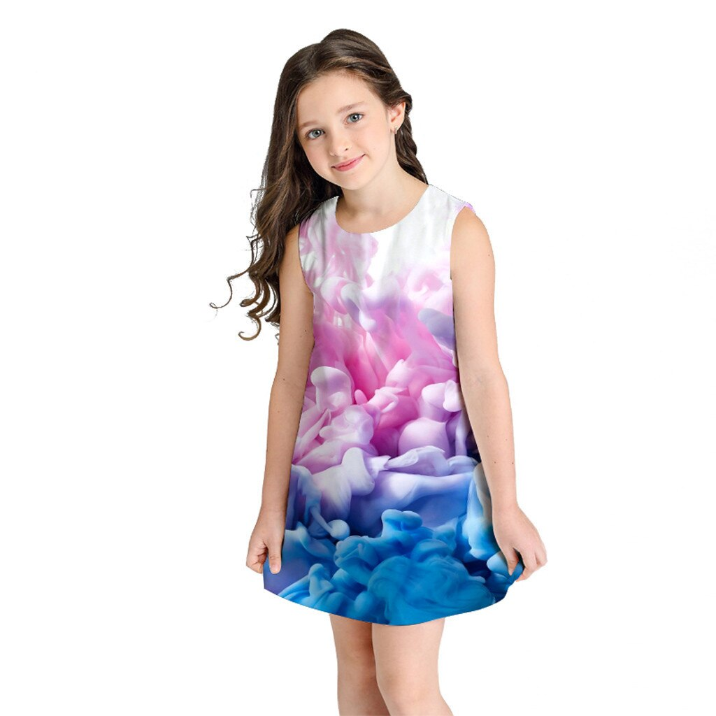 Teen Toddler Kid Girl Summer Sleeveless 3D Print Cartoon Dresses Casual Clothes robe ete fille baby princesse summer clothes