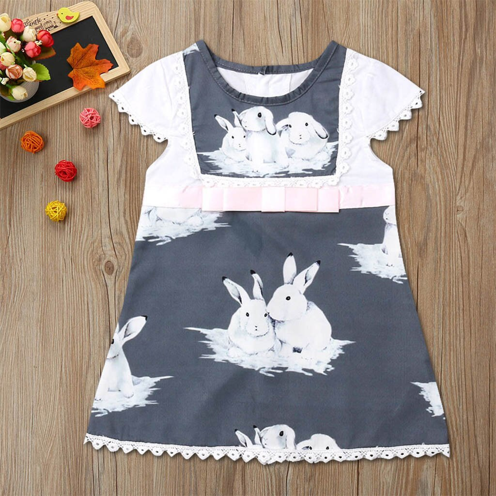 Toddler Baby Girls Short Sleeve Lace Easter Day Rabbit Print Dress Clothes girl wedding dress girls animals bridesmaid dresses